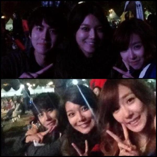 121024 Tiffany, Sooyoung & Kyuhyun @ Han River Concert Selca Picture