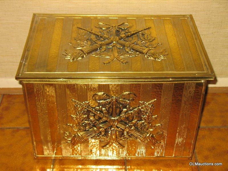 Internet Superstores Antique Brass Embossed Kindling Box