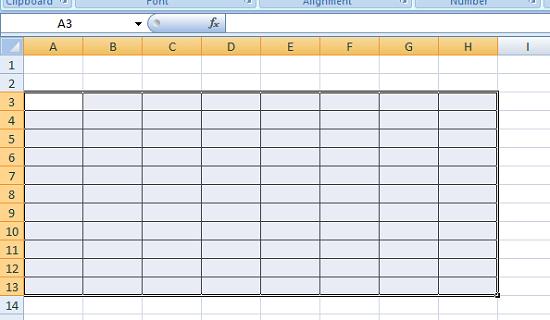 Contoh tabel yang dibuat secara manual