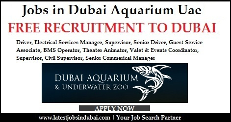 Jobs in Dubai Aquarium UAE 2016