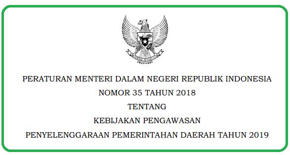 Penyelenggaraan Pemerintahan Daerah Tahun  PERMENDAGRI NOMOR 35 TAHUN 2018 TENTANG KEBIJAKAN PENGAWASAN  PENYELENGGARAAN PEMERINTAHAN DAERAH TAHUN 2019