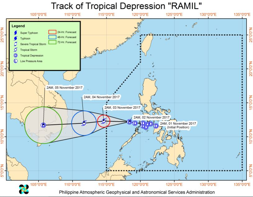 tropical depression Ramil track
