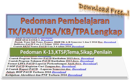 Download Pedoman Pembelajaran TK/PAUD/RA/KB/TPA