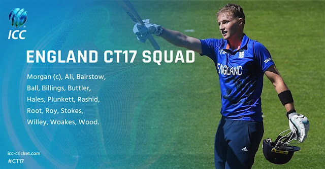 England Team Squad for ICC Champions Trophy 2017