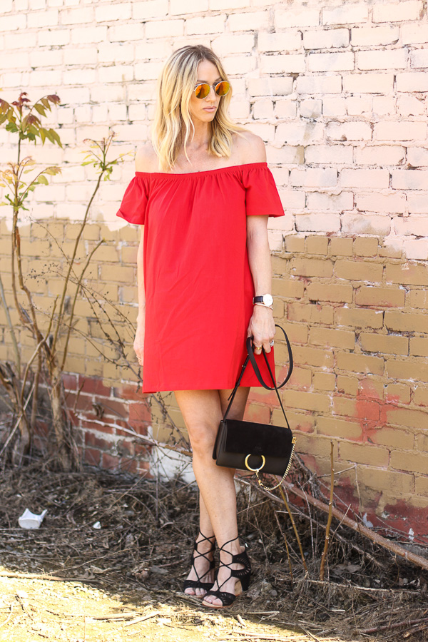 red off shoulder dress spring