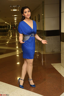 Mannara Chopra in Short Blue Dress at Rogue Movie Teaser Launch 1st March 2017 043.JPG