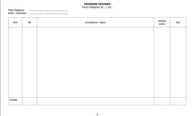 Referensi Contoh Program Tahunan Halaman 2 untuk Administrasi Guru Wali Kelas