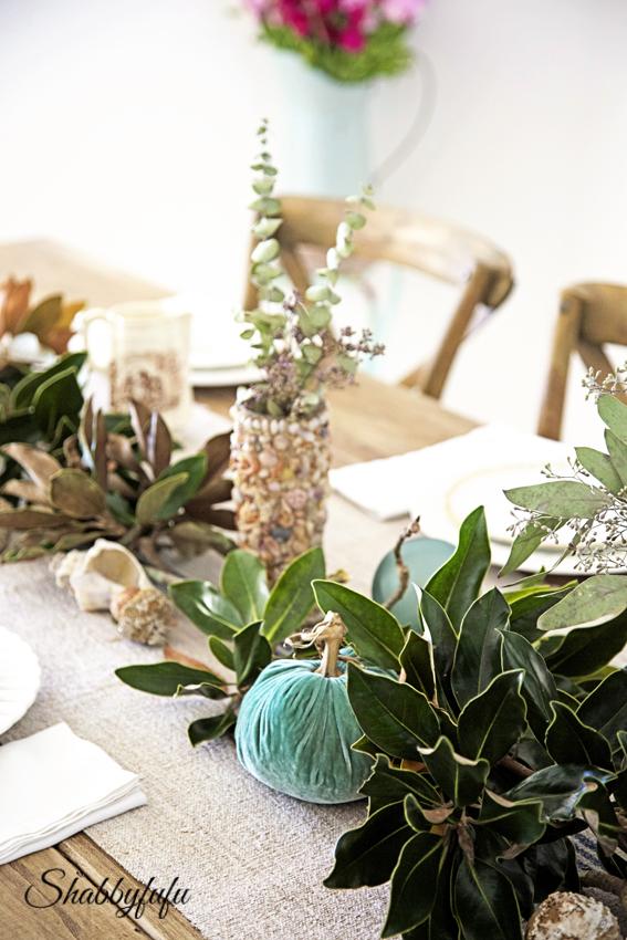 seasonal fall tablescape magnolia garland