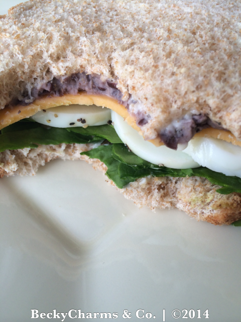 Vegetarian Veggie Sandwich with Egg and Black Bean Mashup by BeckyCharms