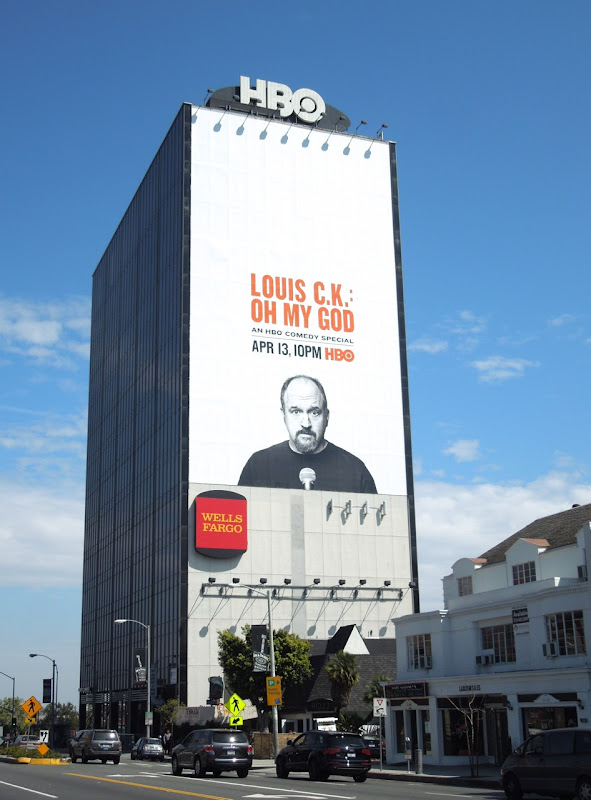 Giant Louis CK Oh My God billboard Sunset Strip