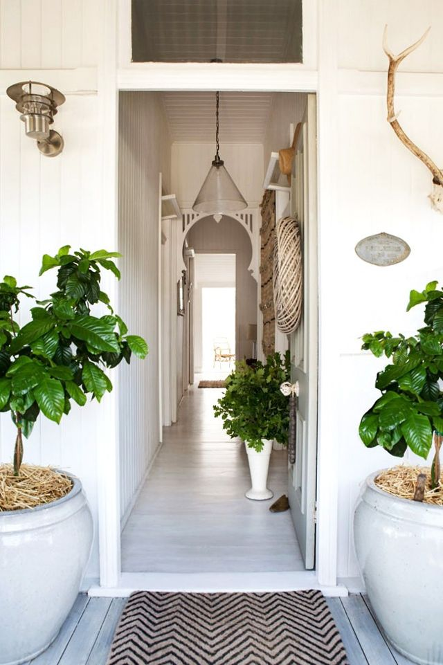 Bohemian Chic Decor in a Vintage Cottage With White decor inside and out. Entrance to the cottage with large potted plants. #cottage #entrance #frontdoor #whitedecor #rusticdecor
