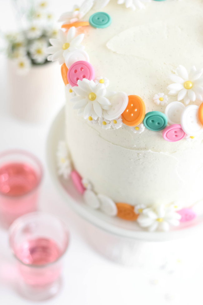 Buttons Birthday Cake Easy White Cake With Vanilla Bean Frosting