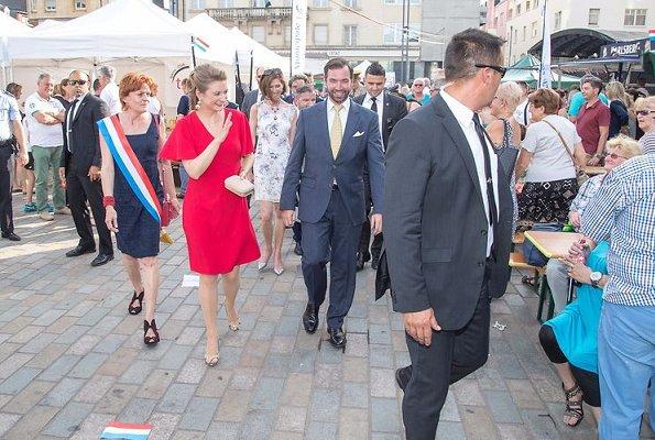 Hereditary Grand Duchess Stephanie visited the Esch. Princess Stephanie wore Paule Ka red dress, Prada pumps, gold earrings