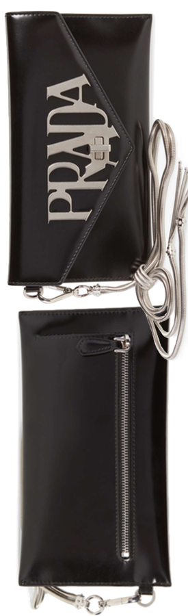 PRADA Spazzolato Leather Wristlet shown in Nero