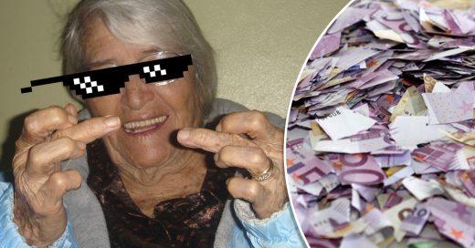 Anciana rompe más de un millón de dólares para no heredarlos