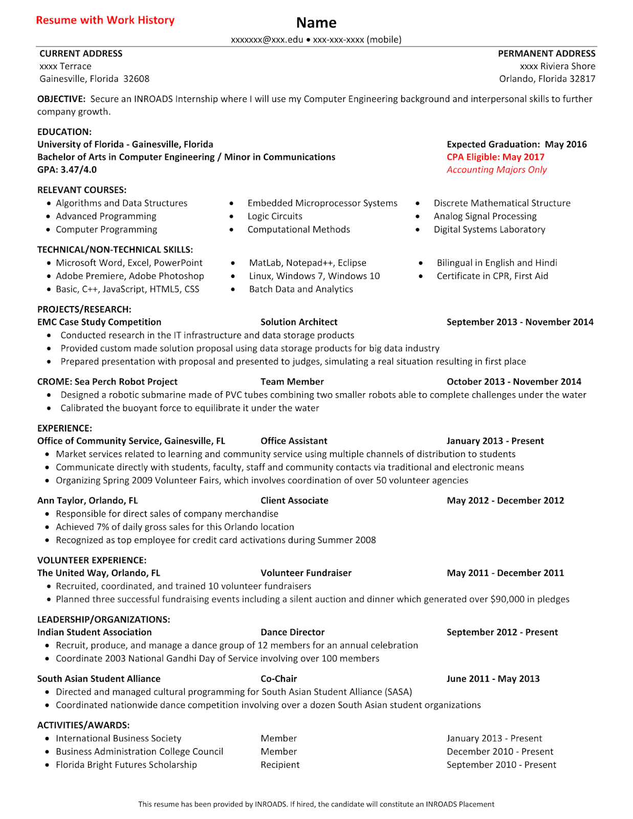Below Are The Helpful Resume Templates From INROADS
