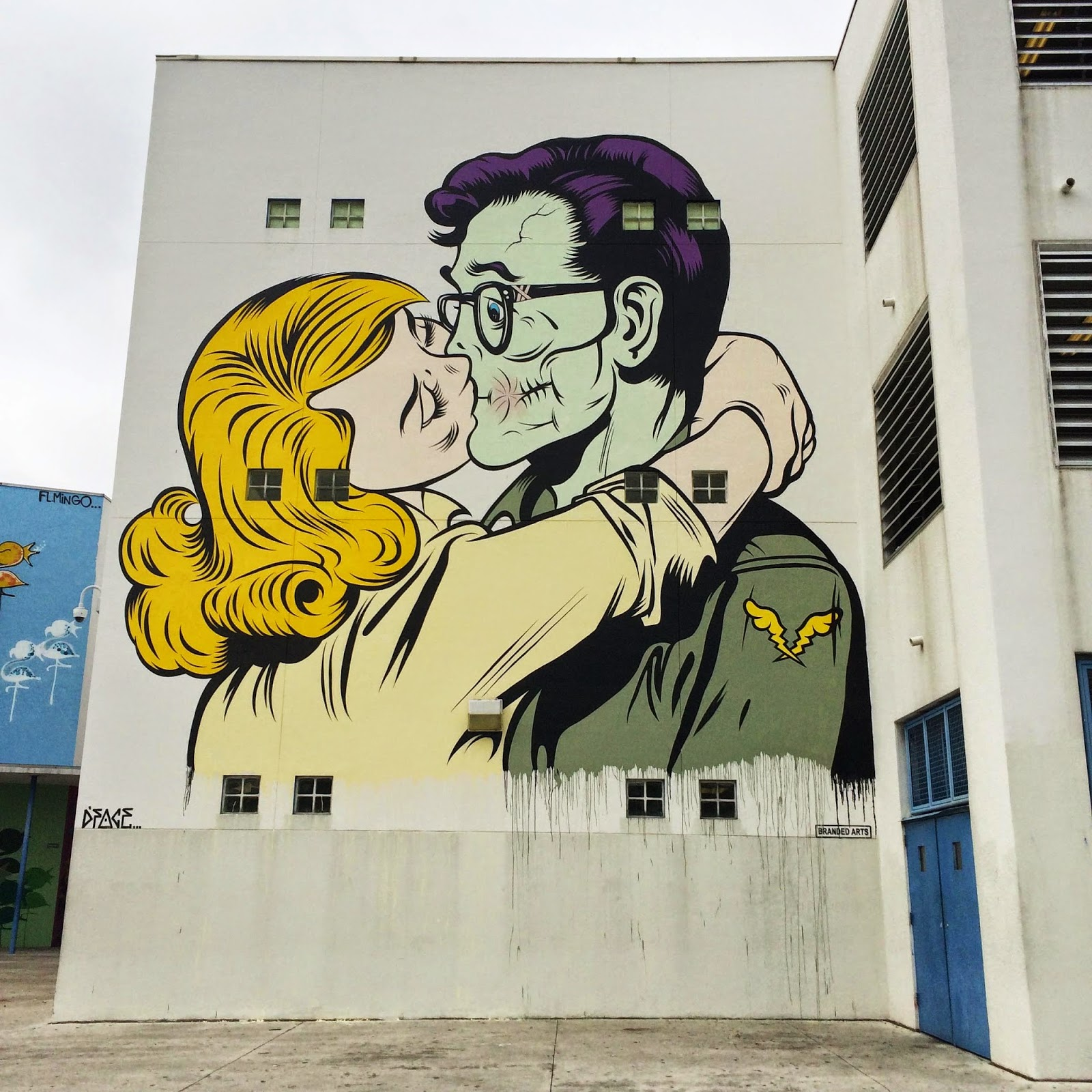 Our friend Dface is still in Wynwood, Miami for Art Basel 2014 where he just finished working on this new piece for Branded Arts and The Raw Project.