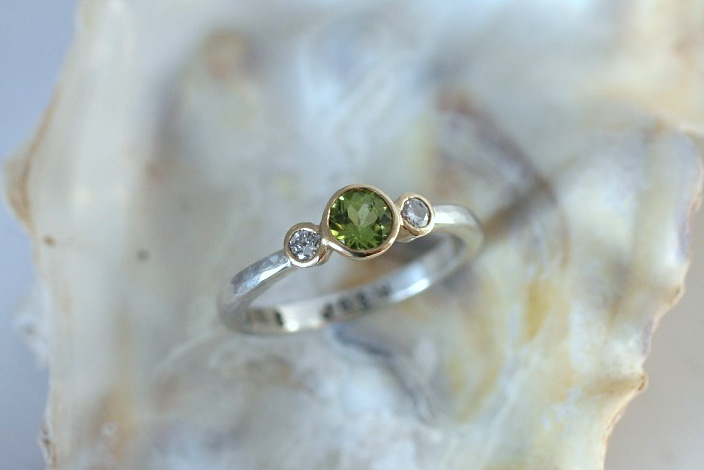 Peridot and diamond ring, recycled silver and recycled diamonds