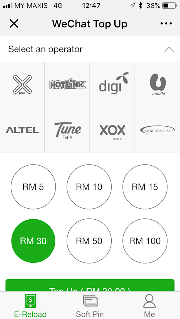 WeChat Pay: pay for mobile prepaid top-up