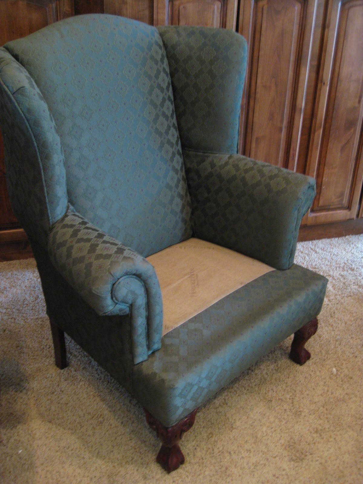 Blue Wingback Chair Covers Hanging Ebay Uk Custom Slipcovers By Shelley Pair Of Wingbacks And A
