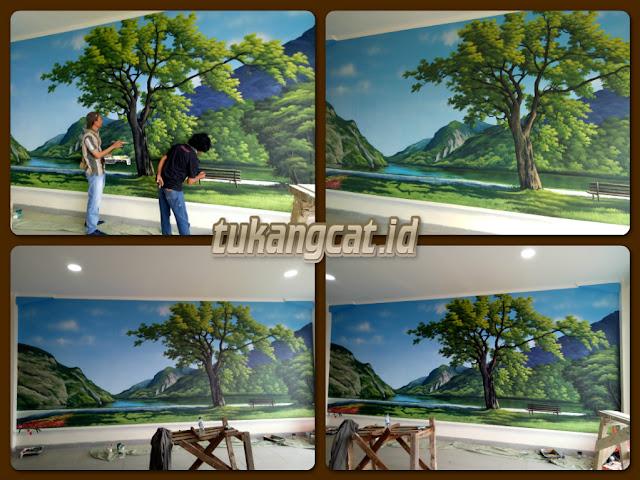 Mural Lukis dinding pemandangan alam dan pohon