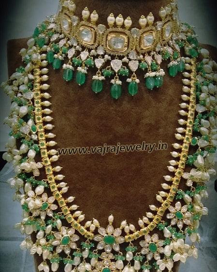 Emerald Kundan Choker Guttapusalu by Vajra