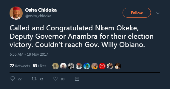 Osita Chidoka congratulated APGA as winner of Anambra 2017 election