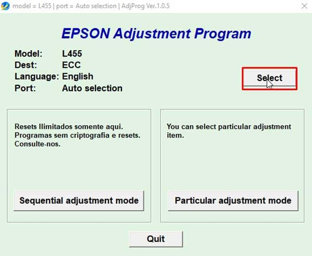 elegir el modelo L455 de la impresora epson