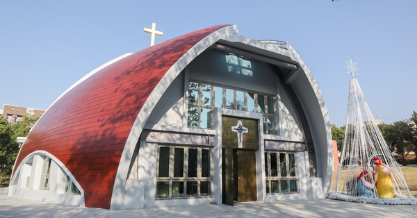靜宜大學主顧聖母堂|台中沙鹿打卡新亮點,竹筍和魚融合的教堂