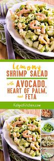 Lemony Shrimp Salad with Avocado, Heart of Palm, and Feta found on KalynsKitchen.com