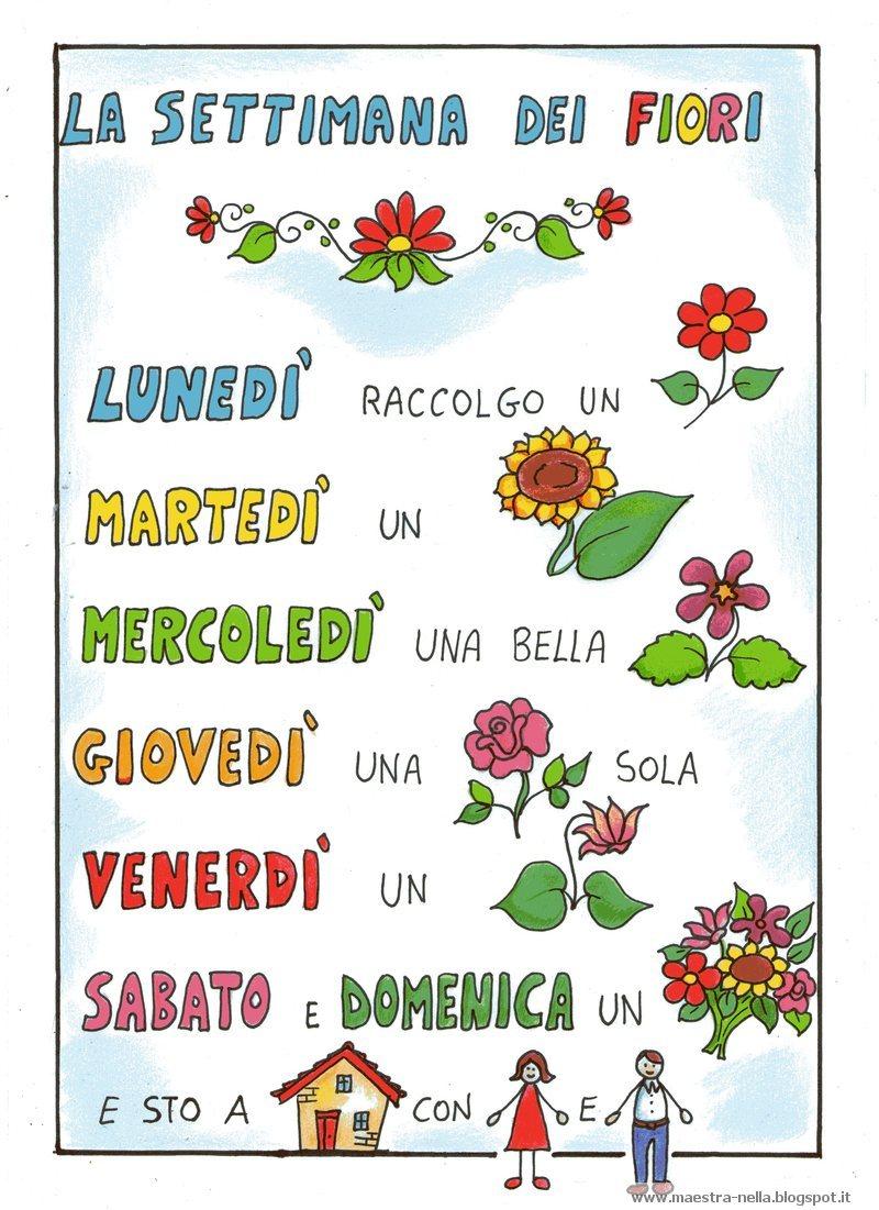 Popolare maestra Nella: Filastrocca 'La settimana dei fiori' AG49