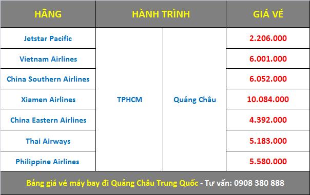 giá Vé máy bay TPHCM đi Quảng Châu Trung Quốc