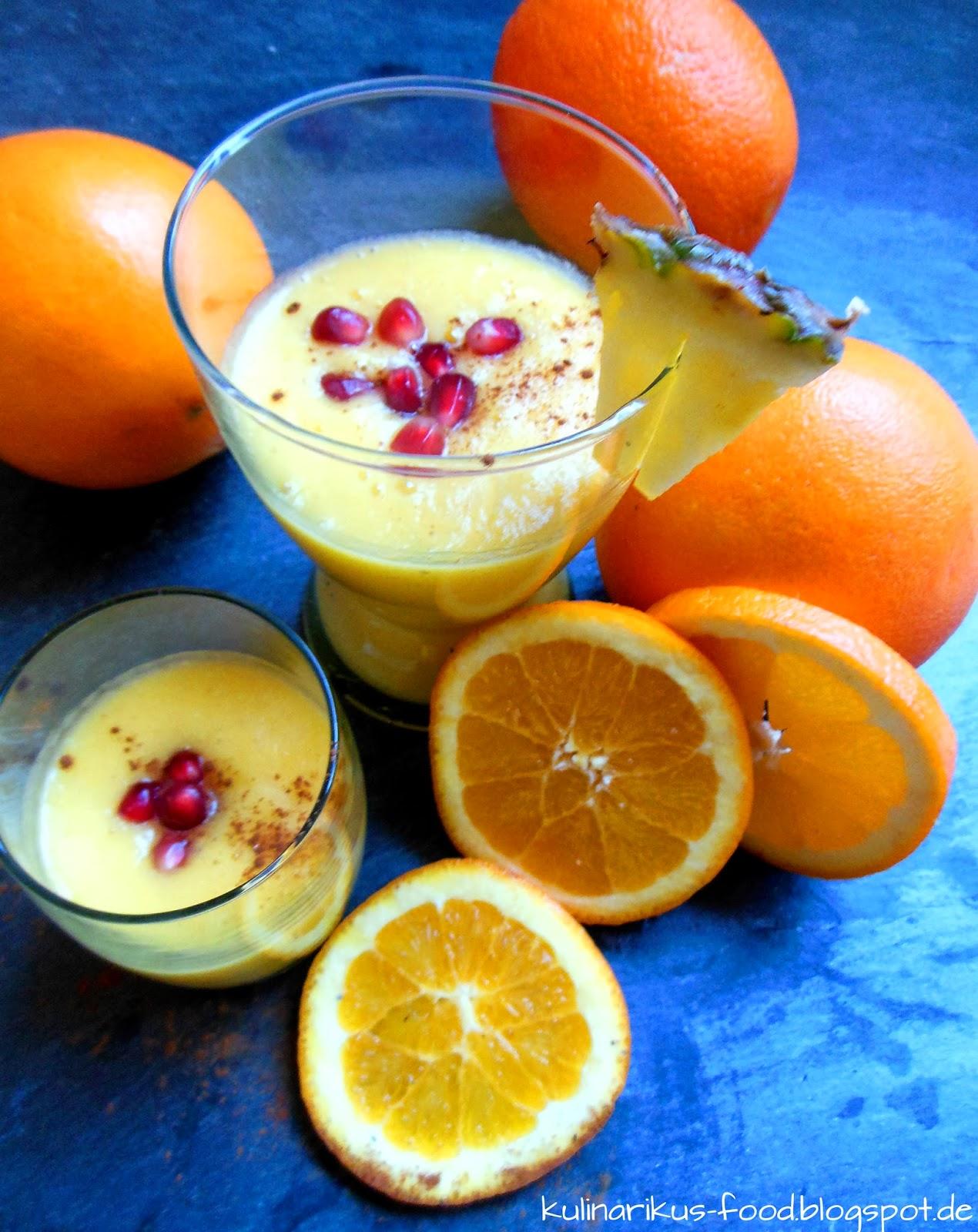 kulinarikus orangen ananas smoothie mit ingwer und granatapfel. Black Bedroom Furniture Sets. Home Design Ideas