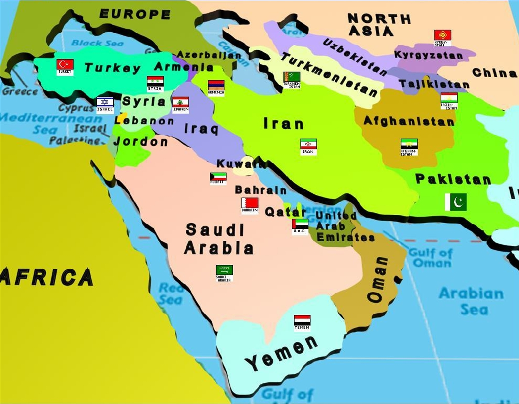 map test of the middle east