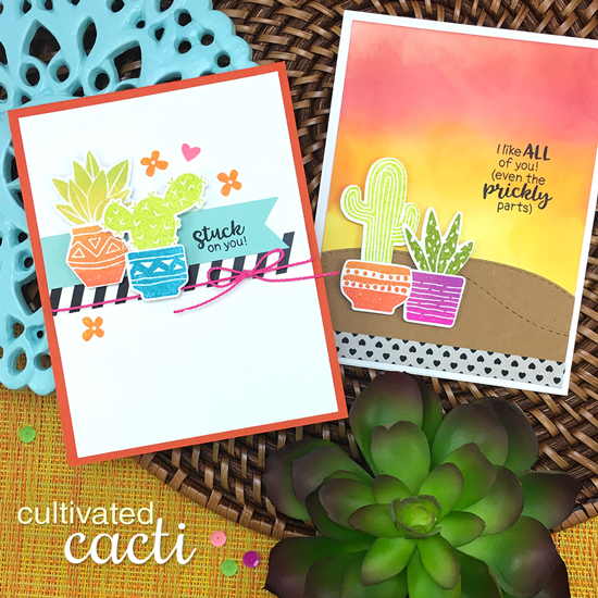 Cactus cards by Jennifer Jackson | Cultivated Cacti stamp sets and die set by Newton's Nook Designs #newotnsnook