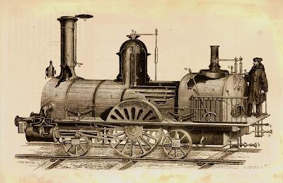 Grabado de una locomotora