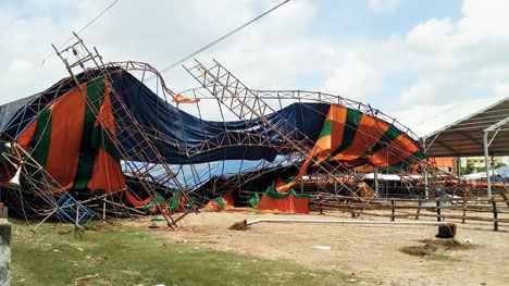 collapsed tent at the Midnapore rally ground