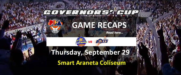 List of PBA Game Thursday September 29, 2016 @ Smart Araneta Coliseum