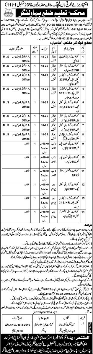 Advertisement for Education Department Punjab Jobs