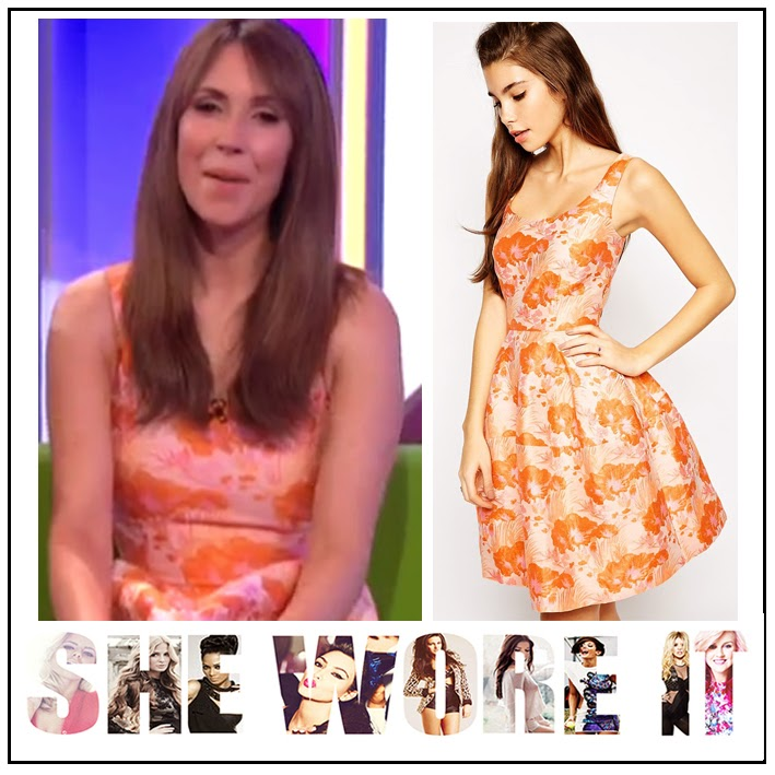 Alex Jones, All Over Floral Jacquard Print, ASOS, BBC, Concealed Zip, Flared, Orange, Peach, Silk Lining, Skater Dress, The One Show,