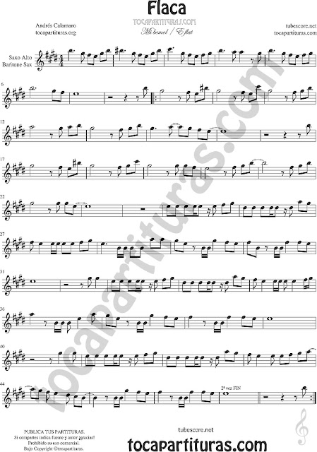 Saxofón Alto y Sax Barítono Partitura de Flaca Sheet Music for Alto and Baritone Saxophone Music Scores