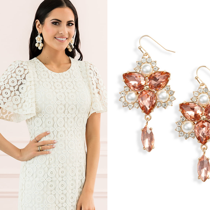 white lace dress, rachel parcell, nordstrom, crystal earrings, Easter dress