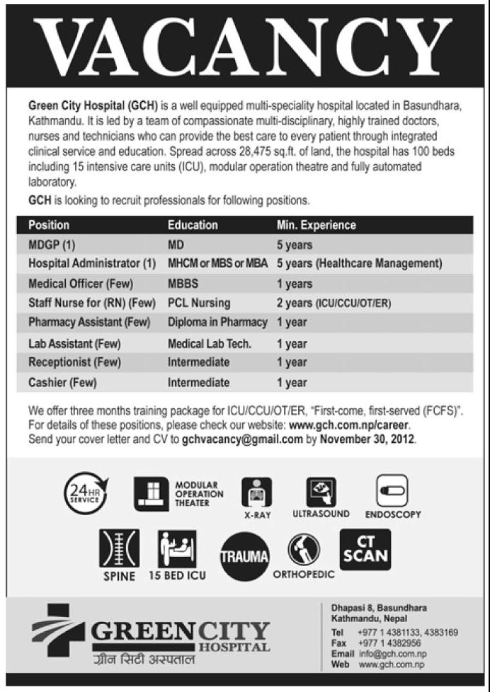 Job Vacancy Green City Hospital Jobs In Nepal