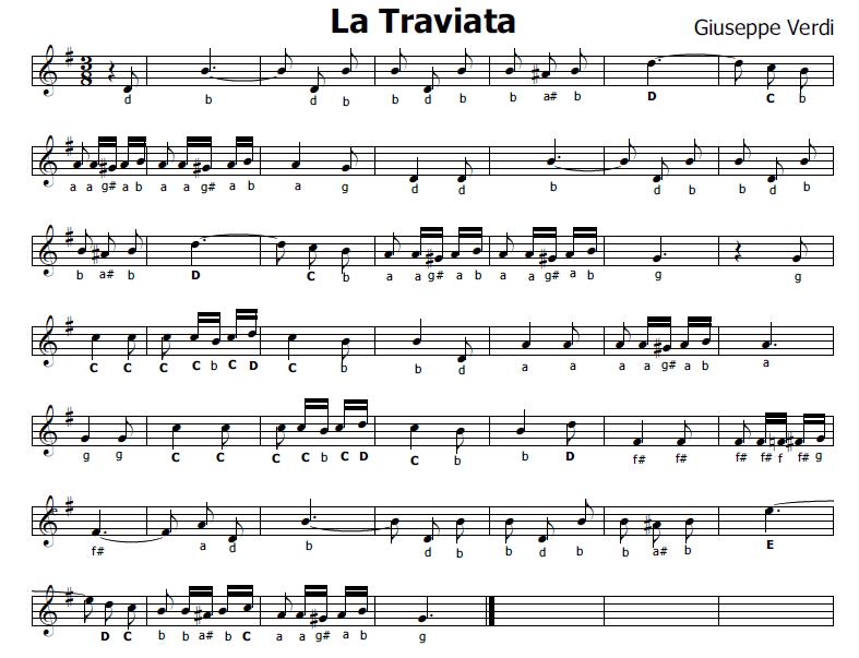 Famoso Musica e spartiti gratis per flauto dolce: La Traviata - Libiam ne  MT44
