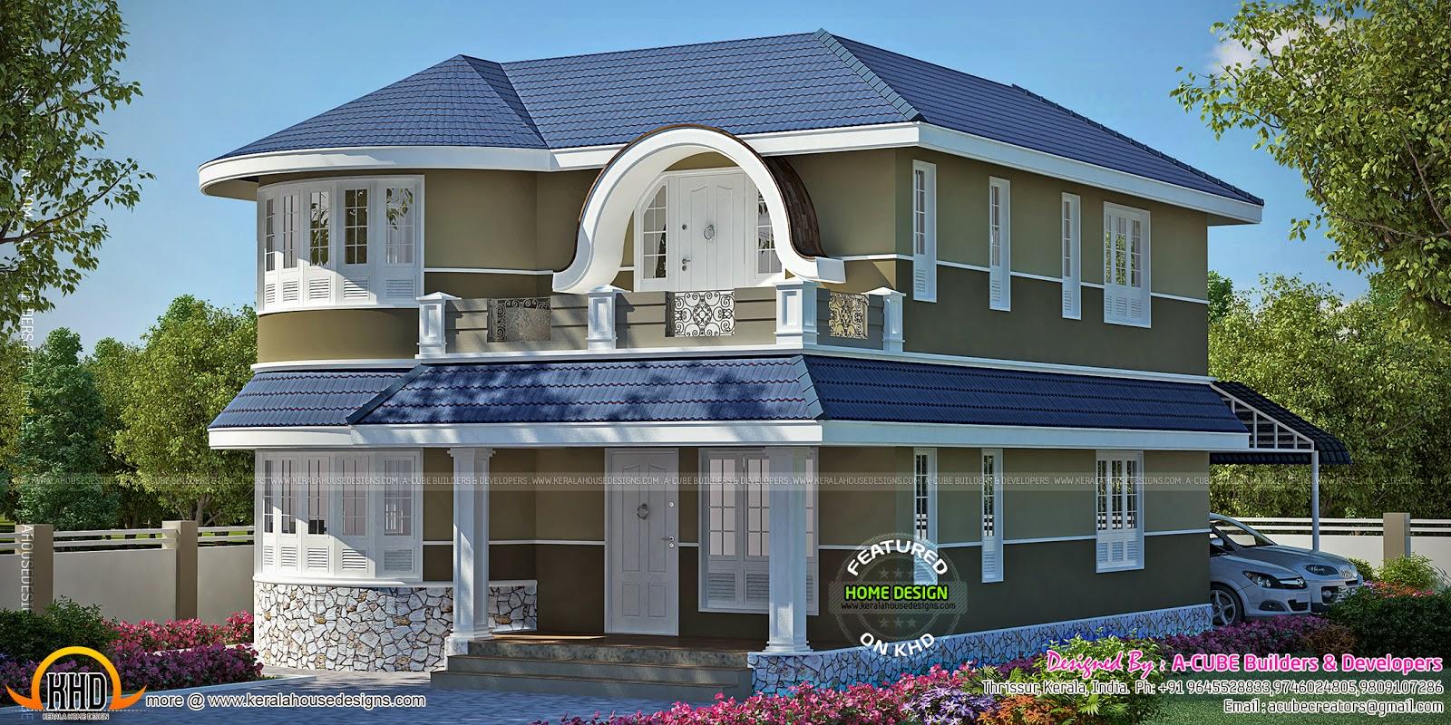 Unique Double Storied House Kerala Home Design And Floor Plans