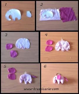 Tutorial gantungan kunci model gajah dari kain perca