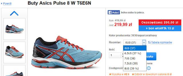 Strona sklepu Intersport z ofertą butów do biegania Asics Pulse 8 wraz z rozmiarami i niską ceną