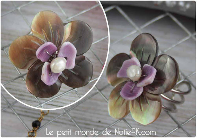 Bague fleur en nacre de Bijoux Chéri