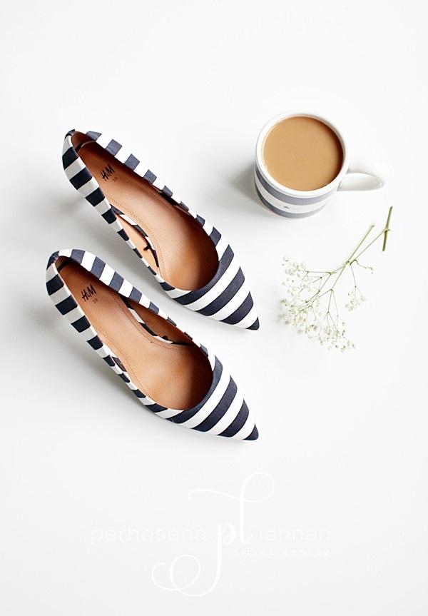 raitakorkokengät heels stripes navy lexington blue white hmheels hennesandmauritz