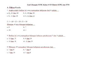 Soal Ulangan Harian MTK Kelas 4 SD Materi KPK dan FPB